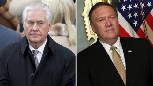 Secretary of State Rex Tillerson (L) and nominee Mike Pompeo (R)