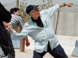 Edward Said exercising his right to free speech by throwing a rock at Israeli soldiers on the border with Lebanon