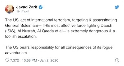Iran's foreign minister responded on Twitter.