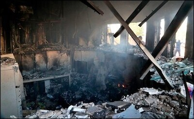The reception room at the US Embassy in Baghdad was destroyed in a December 29 attack by pro-Iranian militiamen.