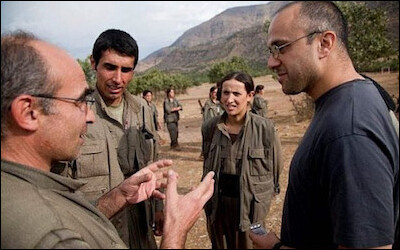 Jonathan Spyer (right) in the Qandil Mountains of Iraqi Kurdistan on March 31, 2011.