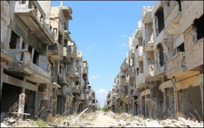 Destruction in Homs City.